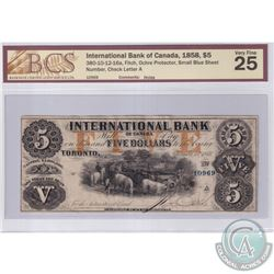 380-10-12-16a 1858 International Bank of Canada $5, Ochre Protector, Small Blue Sheet, Fitch S/N: 10