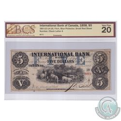 380-10-14-16 1858 International Bank of Canada $5, Fitch, Blue Protector, Small Red Sheet Number. S/