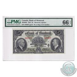 505-60-02 1935 Bank of Montreal $5, Bog-Gordon, S/N: 449467-B. PMG Certified Gem UNC-66 EPQ! An exce