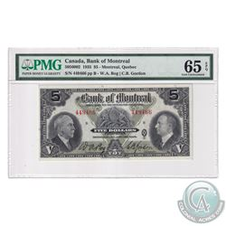 505-60-02 1935 Bank of Montreal $5, Bog-Gordon, S/N: 449466-B. PMG Certified Gem UNC-65 EPQ! An exce