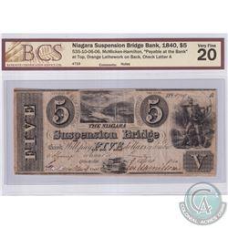 535-10-06-06 1840 Niagara Suspension Bridge Bank $5. McMicken-Hamilton, S/N: 4719-ABCS Certified VF-