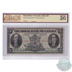 630-12-04 1913 Royal Bank of Canada $5, Neil-Holt. S/N: 4618623-A. BCS Certified VF-20.