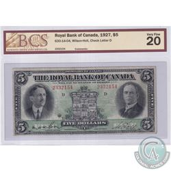 630-14-04 Royal Bank of Canada $5, Wilson-Holt, Check Letter D, S/N: 2332154, BCS Certified VF-20