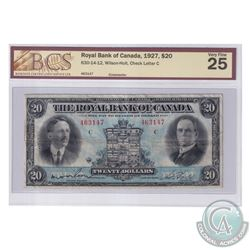 630-14-12 1927 Royal Bank of Canada $20, Wilson-Holt. S/N: 463147-C. BCS Certified VF-25.