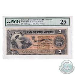 75-14-06 1901 Canadian Bank of Commerce $5, Toronto, Ontario. Cox-Various, S/N: 421821-A. PMG Certif