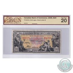 75-18-10 1935 Canadian Bank of Commerce $20, Aird-Logan, S/N: 090725-B. BCS Certified VF-20.