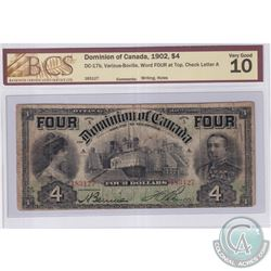 DC-17b 1902 Dominion of Canada $4, Word 'FOUR' at Top, Various-Bouville S/N: 183127-A. BCS Certified