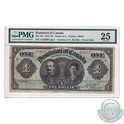DC-18a 1911 Dominion of Canada $1, Various-Boville, Green Line, S/N: 654867-C. PMG Certified VF-25.