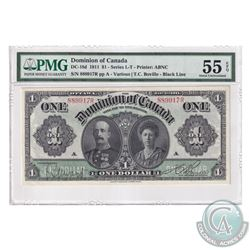 DC-18d 1911 Dominion Of Canada $1, Black Line, Series R, Various-Boville. S/N: 889917R-A. PMG Certif