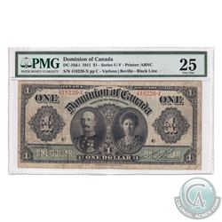 DC-18d-i 1911 Dominion Of Canada $1, Black Line, Series X, Various-Boville, S/N: 418226-C. PMG Certi
