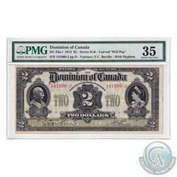 """DC-22a-i 1914 Dominion of Canada $2, Series D, Curved """"Will Pay"""" Various-Boville with Hyphen. S/N: 1"""