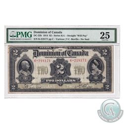 DC-22b 1914 Dominion Of Canada $2, Series K, Straight  Will Pay , Various-Boville, S/N: 218171-C. PM