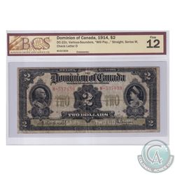 """DC-22c 1914 Dominion Of Canada $2, Series M, Straight """"Will Pay"""". Various-Saunders, S/N: 537839-D. B"""