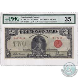 DC-26b 1923 Dominion Of Canada $2, Group 1, Series D, Red Seal. McCavour-Saunders, S/N: 737414-A. PM