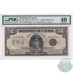 DC-26l 1923 Dominion of Canada $2, Black Seal, Series W, Group 4, Campbell-Clark, S/N: 975949-B. PMG
