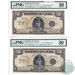 DC-26i  Sequential pair of 1923 Dominion of Canada $2, Black Seal, Group 4, Series X, Campbell-Clark