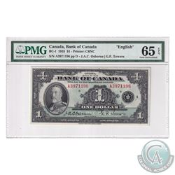 BC-1 1935 Bank of Canada English $1, Osborne-Towers, S/N: A3971196-D. PMG Certified GEM UNC-65 EPQ!