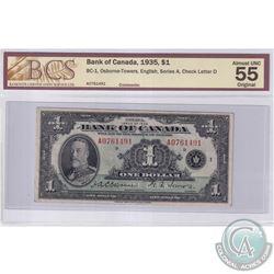 BC-1 1935 Bank of Canada English $1, Osborne-Towers S/N: A0761491-D. BCS Certified AU-55 Original.
