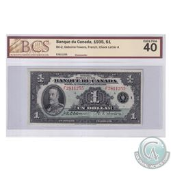 BC-2 1935 Bank of Canada French $1, Osborne-Towers, S/N: F2811255-A, BCS Certified EF-40.