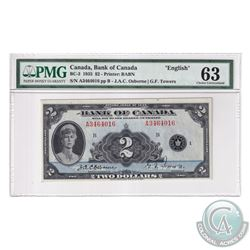 BC-3 1935 Bank of Canada English $2, Osborne-Towers, S/N: A3464016-B. PMG Certified Choice UNC-63.