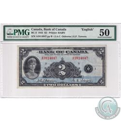BC-3 1935 Bank of Canada English $2, Osborne-Towers, S/N: A3814047-B PMG Certified AU-50.