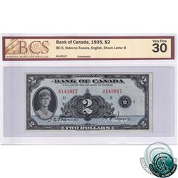BC-3 1935 Bank of Canada English $2, Osborne-Towers, S/N: 143017/B BCS Certified VF-30.