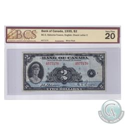 BC-3 1935 Bank of Canada English $2, Osborne-Towers, S/N: A577170-C. BCS Certified VF-20.