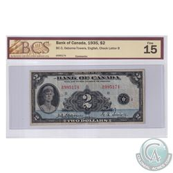 BC-3 1935 Bank of Canada English $2, Osborne-Towers, S/N: A995174-B. BCS Certified F-15.