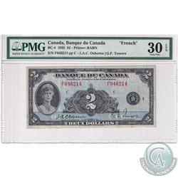 BC-4 1935 Bank of Canada French $2. Osborne-Towers, S/N: F046214-C PMG Certified VF-30 EPQ!