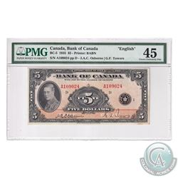 BC-5 1935 Bank of Canada English $5, Osborne-Towers, S/N: A109024-D, PMG Certified Choice EF-45.