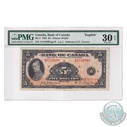 BC-5 1935 Bank of Canada English $5, Osborne-Towers, S/N: A1510898-B, PMG Certified VF-30 EPQ!