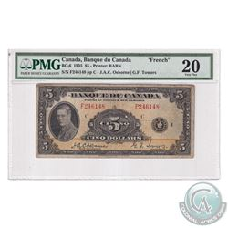 BC-6 1935 Bank of Canada French $5, Osborne-Towers, S/N: F246148-C. PMG Certified VF-20