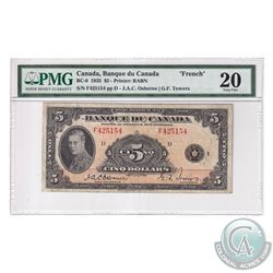 BC-6 1935 Bank of Canada French $5, Osborne-Towers, S/N: F425154-D. PMG Certified VF-20 (Discolorati