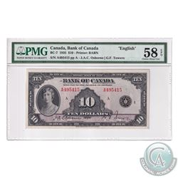 BC-7 1935 Bank of Canada English $10, Osborne-Towers, S/N: A495415-A. PMG Certified Choice AU-58 EPQ