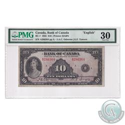 BC-7 1935 Bank of Canada English $10, Osborne-Towers, S/N: A286364. PMG Certified VF-30.
