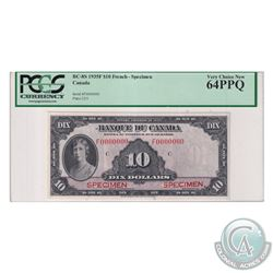 BC-8S 1935 Bank of Canada French Specimen $10, S/N: F0000000. PCGS Certified Very Choice New 64 PPQ!