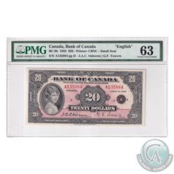 BC-9b 1935 Bank of Canada English $20, Osborne-Towers, S/N: A135884-D. PMG Certified Choice UNC-63!
