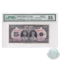 BC-11 1935 Bank of Canada English $25, Osborne-Towers, S/N: A007128-A. PMG Certified AU-55. A choice
