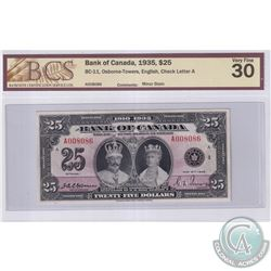 BC-11 1935 Bank of Canada English $25, Osborne-Towers, S/N: A008086-A. BCS Certified VF-30 (Minor st