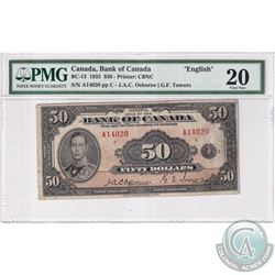 BC-13 1935 Bank of Canada $50, English, Osborne-Towers, S/N: 14020/A PMG VF-20.