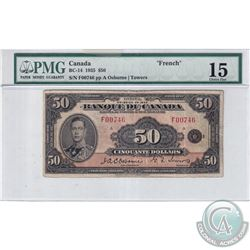 BC-14 1935 Bank of Canada $50, French, Osborne-Towers, S/N: F00746, PMG Certified F-15