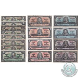 Lot of 1937 Bank of Canada $1, $2, $5 & $10 Notes in average condition (8x $1, 4x $2, 2x $5 & 2x $10