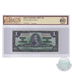 BC-21a 1937 Bank of Canada $1, Osborne-Towers, S/N: A/A9532116. BCS Certified UNC-60 Original.