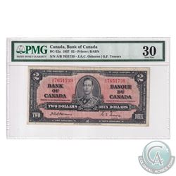 BC-22a 1937 Bank of Canada $2, Osborne-Towers, S/N: A/B7651739. PMG Certified VF-30.