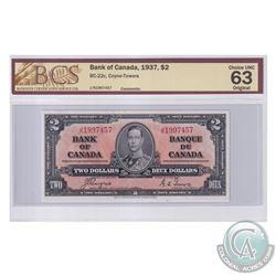 BC-22c 1937 Bank of Canada $2, Coyne-Towers, S/N: J/R1997457. BCS Certified Choice UNC-63 Original.