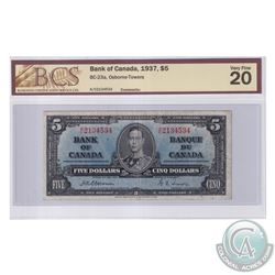 BC-23a 1937 Bank of Canada $5, Osborne-Towers, S/N: A/C2134534. BCS Certified VF-20. Rare Note!