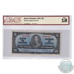 BC-23a 1937 Bank of Canada $5, Osborne-Towers, S/N: A/C0869008. BCS Certified F-18.