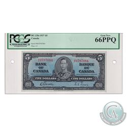 BC-23b 1937 $5 Bank of Canada, Gordon-Towers, S/N: M/C787084. PCGS Certified Gem New UNC-66 PPQ.