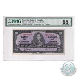 BC-24b 1937 Bank of Canada $10, Gordon-Towers, S/N: K/D8860378. PMG Certified Gem UNC-65 EPQ.