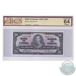 BC-24c 1937 Bank of Canada $10, Coyne-Towers, S/N: L/T9247081. BCS Certified Choice UNC-64 Original.